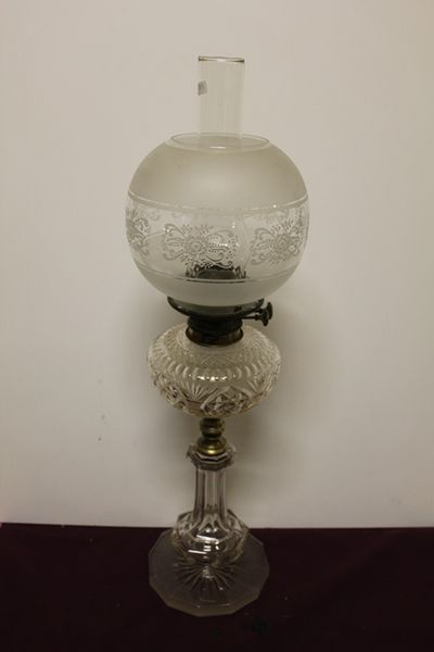 Wonderful 19th Century Cut Lead Glass Oil Lamp In Original Condition