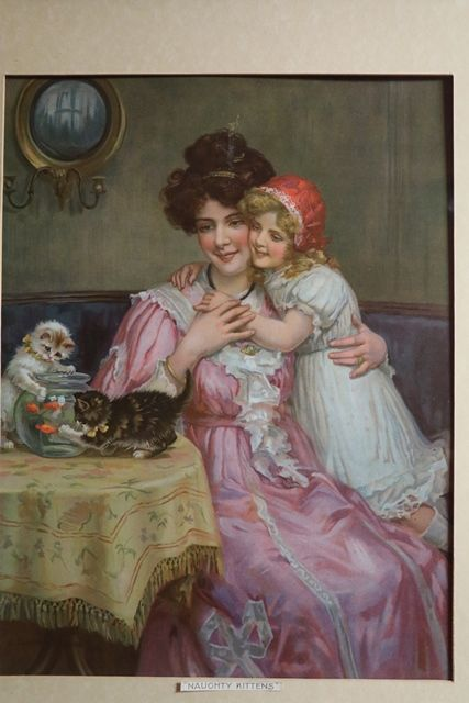 Wonderful Framed Victorian Print  Naughty Kittens Dated 1908