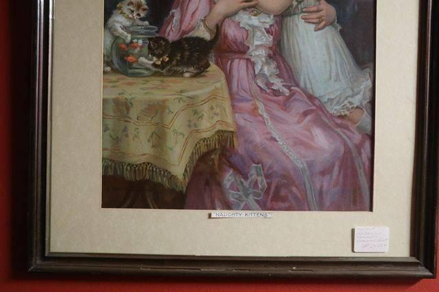 Wonderful Framed Victorian Print  Naughty Kittens Dated 1908