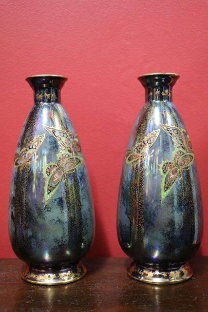 Wonderful Pair of Fieldings Devon Lustrine Vases