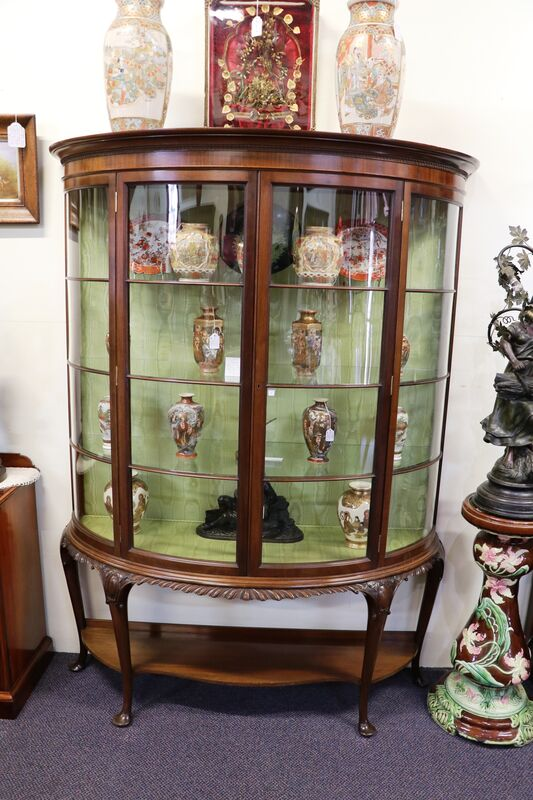 Wonderful Quality Antique 2 Door Bowfront Mahogany Display Cabinet