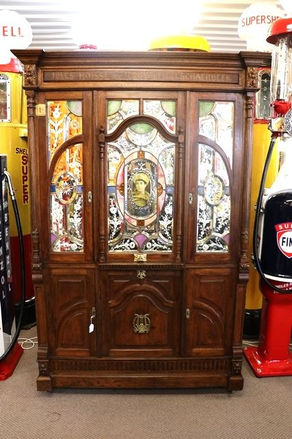 Antique Belgium Oak Cased Coin Operated Barrel Piano