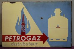 Petrogaz Distributeur Double Sided Enamel Advertising Sign
