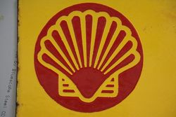 Shell Huiles Double Sided Enamel Advertising Sign