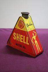 A Rare Shell Motor Oil Tri Shape  Tin With Stickman