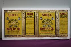 Australian Shell Advertisement Defiance BlowFly Oil Tin on Wooden Board