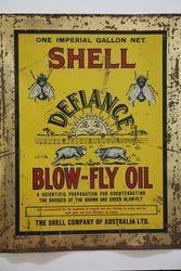 Australian Shell Advertisement Defiance BlowFly Oil Tin on Wooden Board