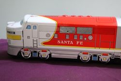 Battery Operated Vintage Santa Fe Train Toy Cragstan Tootin Chugging Locomotive