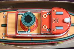 Battery Operated Modern Toys Japanese Tug Boat Neptune Tin Plate