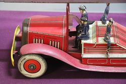 Early Tin Plat Wind Up Fire Truck