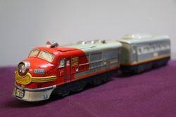 TN Japan lithographed Tin Santa Fe Diesel Battery Cable Train With Headlight