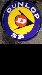 2019  Round Dunlop D Double Sided Enamel Sign