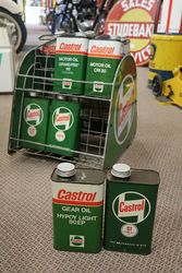 Castrol Motor Oil Forecourt Basket Rack With Enamel Signs To Each End