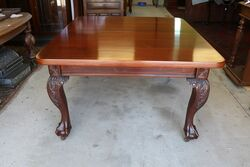 Antique Mahogany 2 Leaf Chippendale Style Extension Table