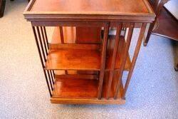 Antique Walnut 2 Tier Revolving Bookcase