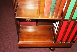 A Large Antique Walnut 3 Tier Revolving Bookcase