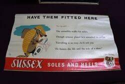 1950s Sussex Soles + Heels Advertising Poster