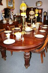 Antique Round Mahogany 5 Leaf  Extention Table