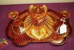 Art Deco 5 piece Amber Glass Trinket Set