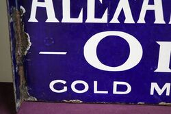 Early and Rare Antique Alexandra Oil Double Sided Enamel Sign