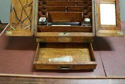 A Lovely Antique English Oak Stationary Desk Companion
