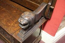 Quality Early C20th Carved Oak Monks Bench