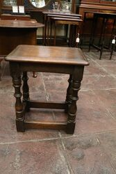 C20th Turned Leg Joint Stool with Stretcher Base