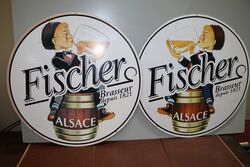 A Pair of Vintage Fisher Pictorial Pub Signs