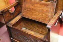 A Very Sweet Single Seater Oak Monks Bench