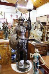 Antique Pair of Large Spelter Amazon Figures