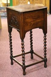1930+96s Oak Barley Twist Sewing Box