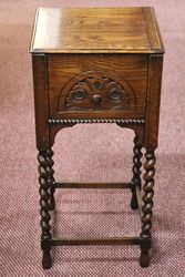 1930and96s Oak Barley Twist Sewing Box