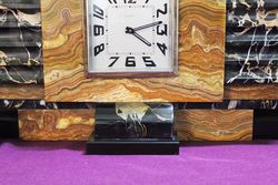 1930s 3 Piece Art Deco Marble Clock Set