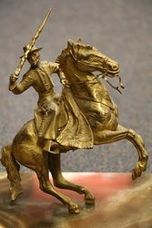19th Century Gilt + Marble Gaucho Mounted Desk Inkstand C1880