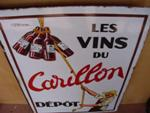 "DOUBLE LES VINS DE CARILLON ENAMEL SIGN  --20""x28""  SP32"