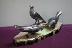 3 Pigeons Figurines on marble Signed By GArisse