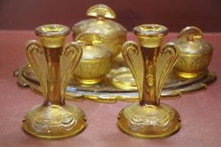 6 piece Deco Amber Glass Trinket Set C1930