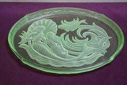 7 Pieces Art Deco Green Uranium Glass Mermaid Trinket Set C1930