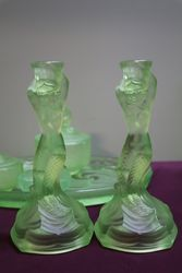 7 Pieces Art Deco Green Uranium Glass Mermaid Trinket Set C1930