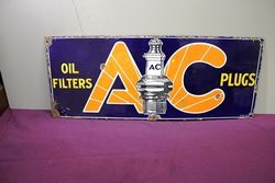 AC Spark Plugs Pictorial Enamel Sign