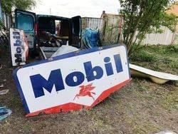 ARRIVING NOVEMBER Mobil Enamel Advertising Sign