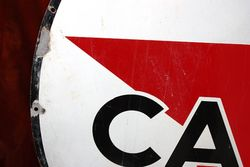 ARRIVING SOON Caltex Round Enamel Advertising Sign