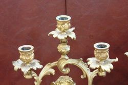 A Fine Pair Of Antique Gilt Bronze 3 Branch Cherub Candelabras C1860