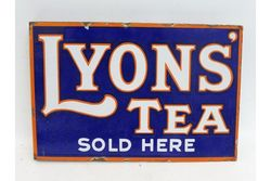 A Lyonand39s Tea Sold Here double sided enamel sign