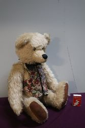A New Zealand Natural Mohair Bear With Waist Coat By Robin Rive