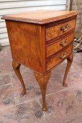 A Quality Burr Walnut 3 Drawer Bed Side Cabinet C1950