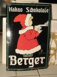 A Rare + Early Berger Chocolate Pictorial Enamel Sign