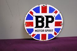 A Rare 1920s Small Round BP Motor Spirit Enamel Sign