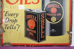 A Rare and Early Shell Lubricating Oils Pictorial Enamel Sign