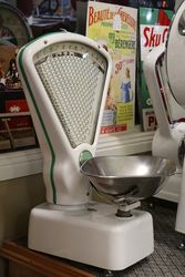 A Set Of White And Green Embellished Avery Shopkeepers Scales
